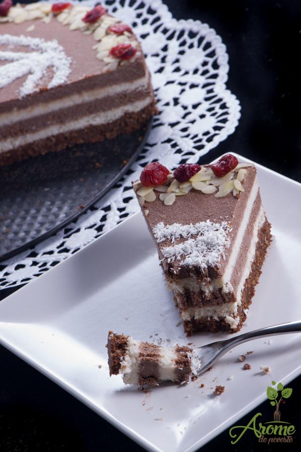 Tort raw vegan in straturi de ciocolata si cocos