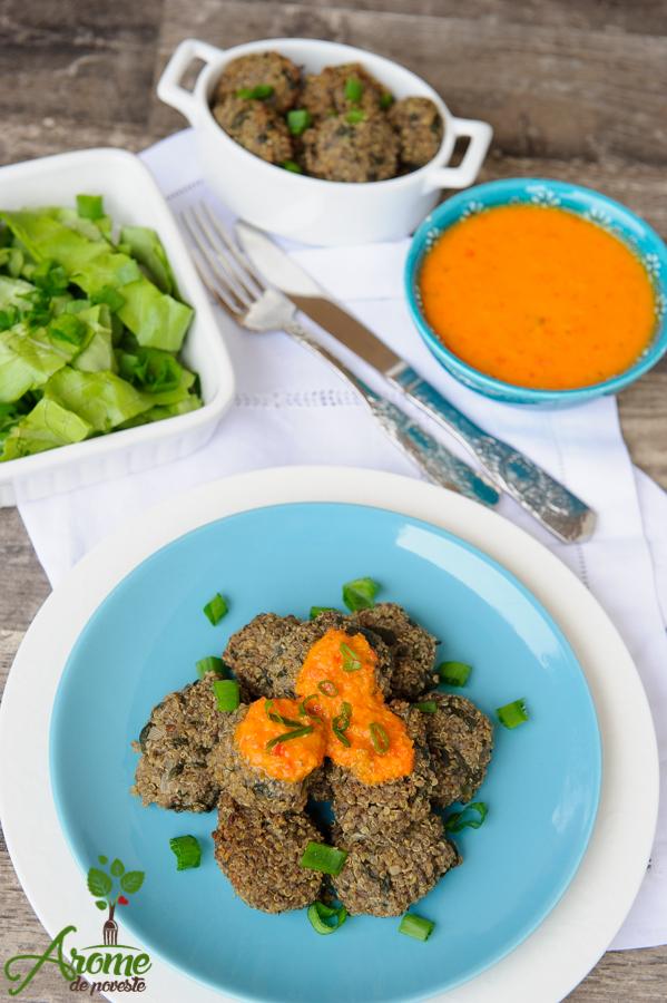 quinoa-spanac-ciuperci-chiftele