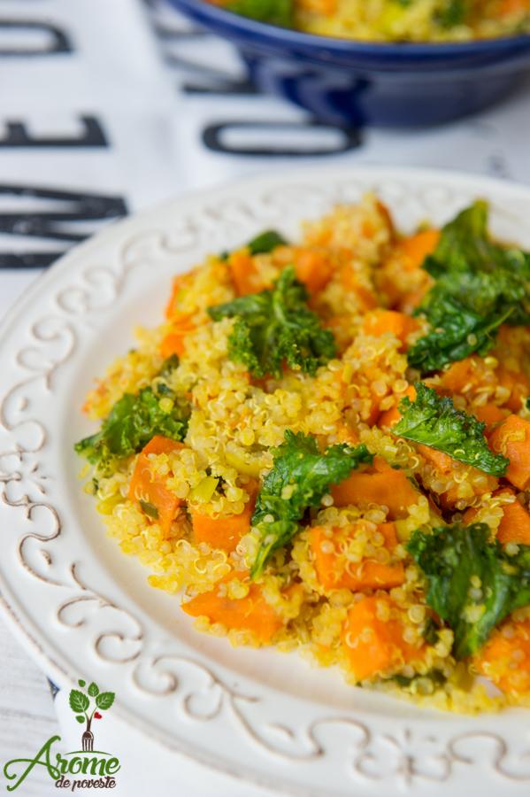 cartofi dulci-ulei masline-salata-quinoa